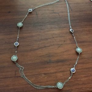 Long sliver, gray, and purple necklace